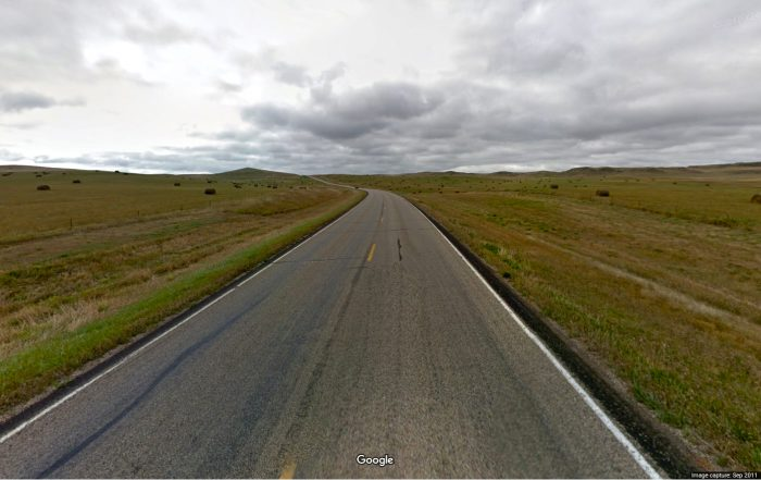 The 32 miles of North Dakota's Enchanted Highway looks pretty much like this.