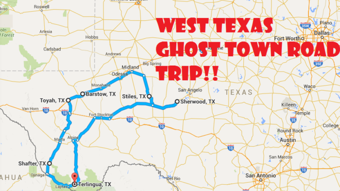 A Scary Road Trip Through Texas Ghost Towns - Texas towns map