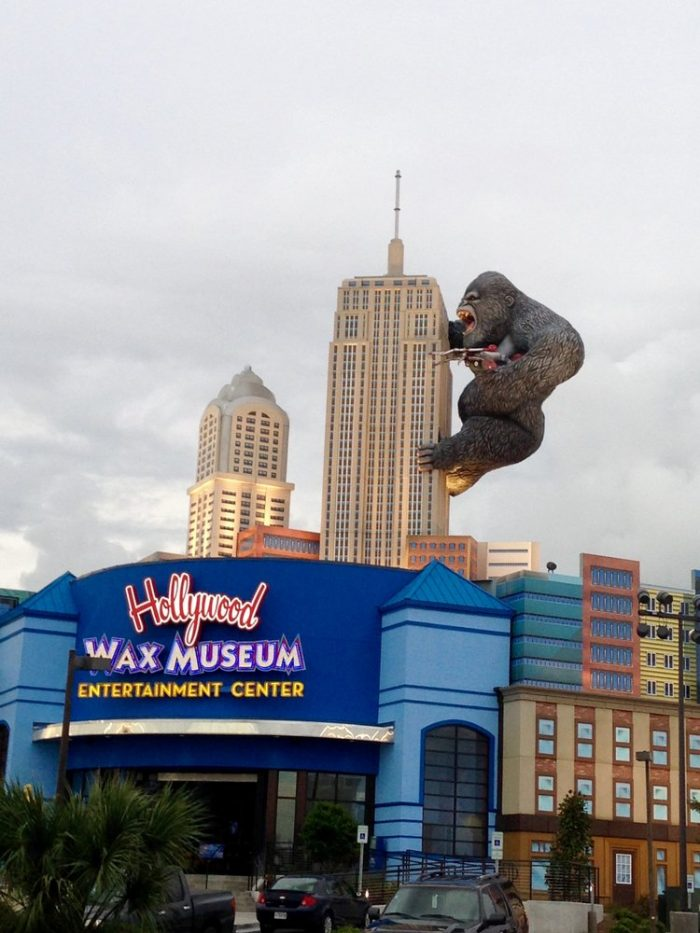 11. A giant gorilla hanging onto the side of a building in Myrtle Beach