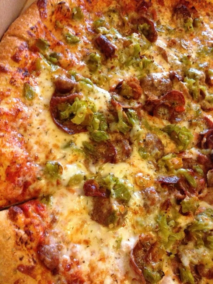 16. Green chile on pizza