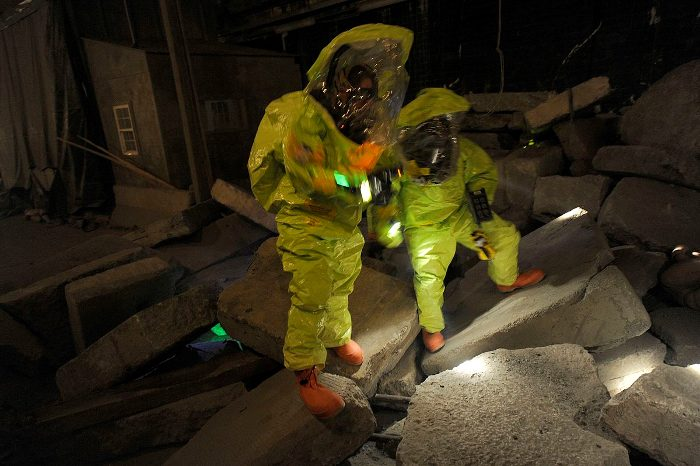 First responders learn how to safely handle hazardous materials, and rescue people from the rubble.