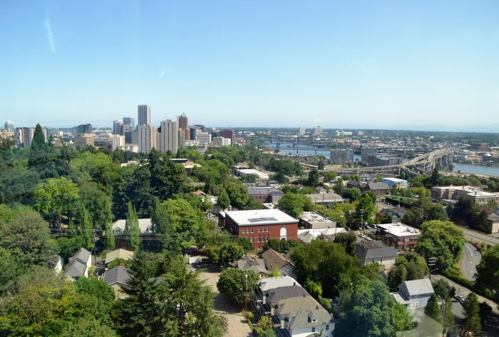 6. The view from the Portland Tram of downtown and its outstanding skyline.
