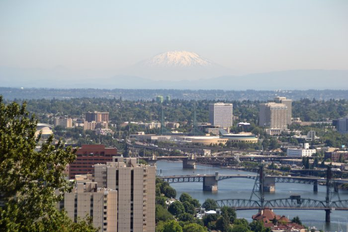 4. A distant view of the majestic Mt. St. Helens and a couple of our well-known bridges.