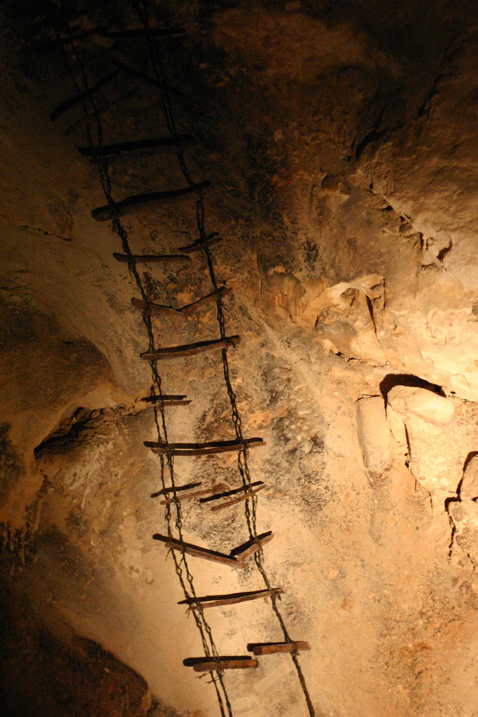 8. They used ladders like these to tour the caverns.