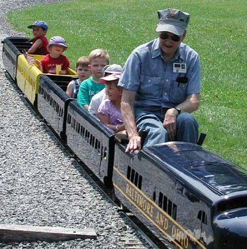 And even children can get into the action by taking a free ride on this 1949 twelve-gauge train, at the Little Sykes Railway.