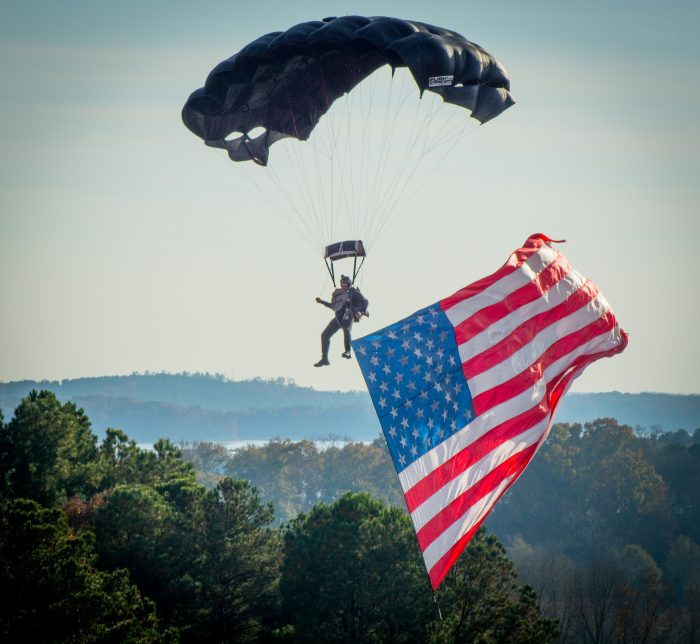 12. Wow. Just. Wow. The mountains surrounding Clemson's stadium make a beautiful backdrop for this drop in by a U.S. Army soldier marking Military Appreciation Day in 2014.