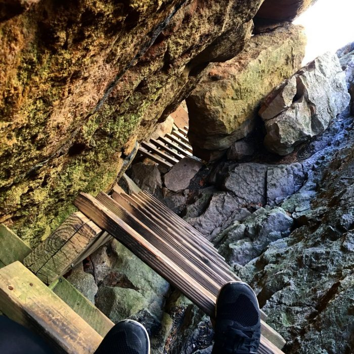 There's plenty of reasons why The Crevice is the most challenging part of this hike. For example, you have to climb a ladder that brings you underneath a considerable size boulder that's wedged between the large crack in the mountain.