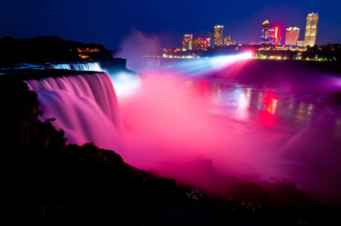 Currently, you can see the waterfalls illuminated every night between 9PM and Midnight.