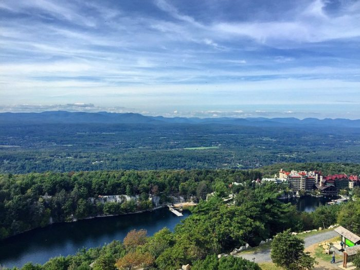 From the top of Sky Top Tower you'll have a picturesque view of the Mohonk Mountain House and the rest of the surrounding area.