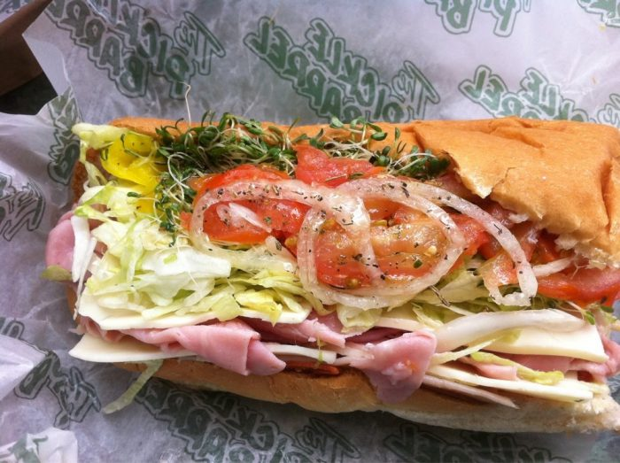 6. A sandwich from the Pickle Barrel.