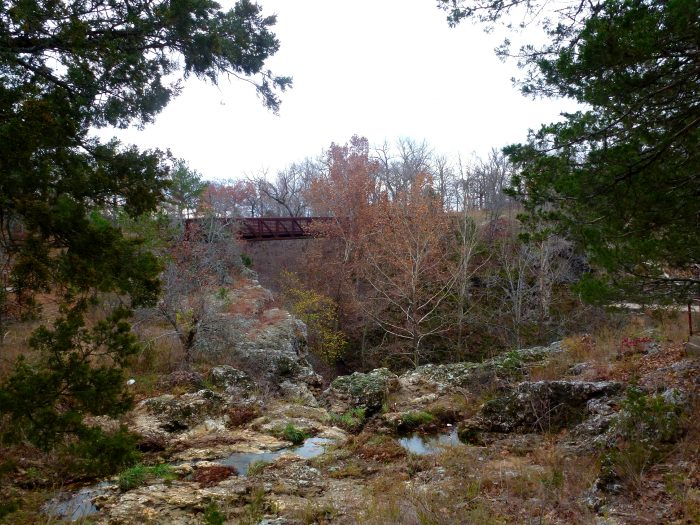This steel and wooden bridge high above is on the way back to the parking lot after viewing the waterfalls.