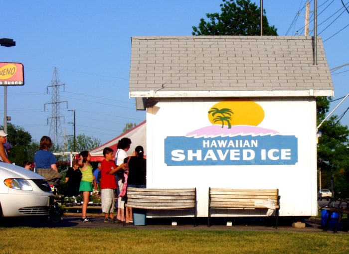 6. We see long lines at the shaved ice stands.