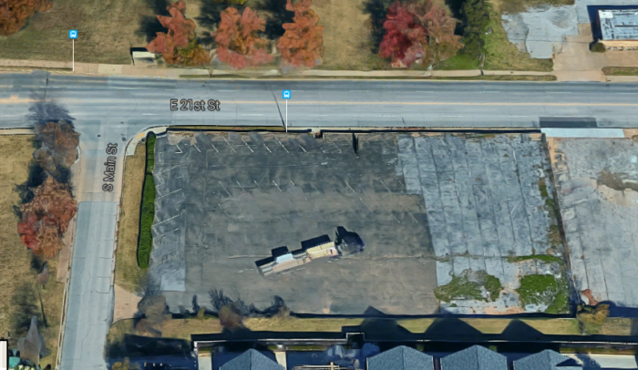 Rumor exists that the basement still exists under the paved parking lot.