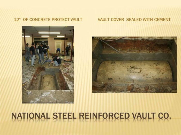 12 inches of concrete protected the vault.