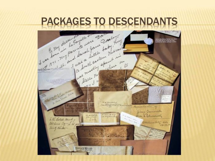 Descendants of Oklahoma families from 1913 found packages and letters written to them.