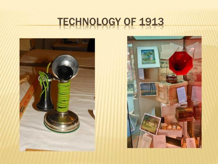 Several pieces of technology from 1913 were also in the chest.