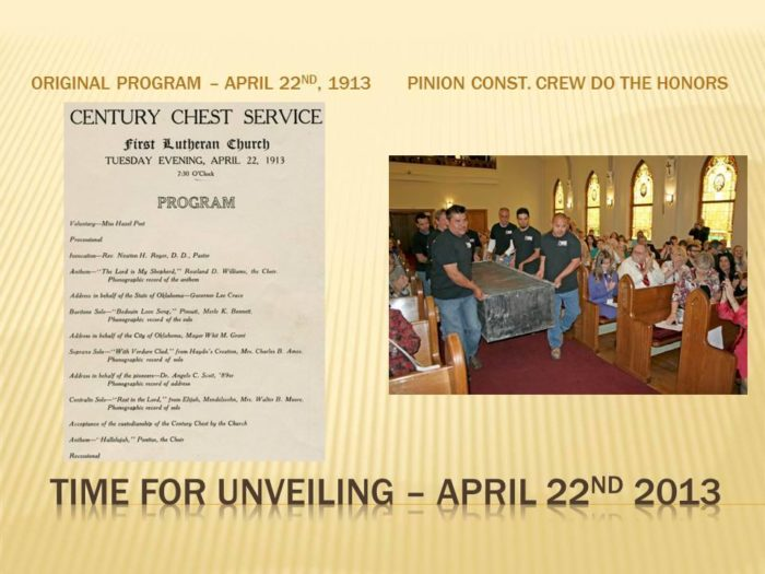The church held an unveiling ceremony on April 22, 2013.