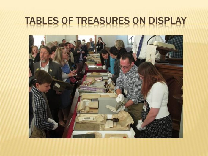 Tables of treasures were on display.