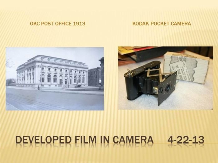 Like this Kodak Pocket Camera, along with photographs developed from the camera and other photos put in the chest.