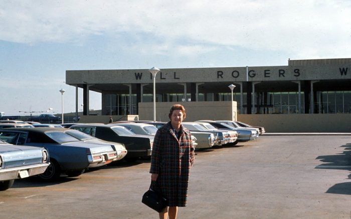 4. Outside the largest airport in the state, Will Rogers Airport, November of 1971.