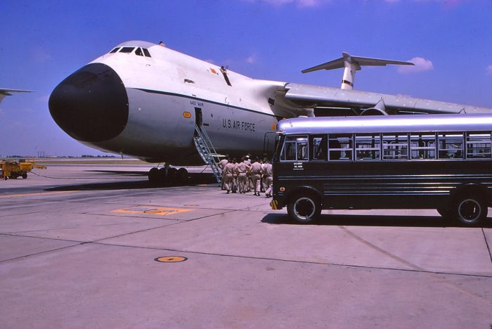 1. The military is preparing for departure on this C-5 aircraft at Altus Air Force Base, 1972.