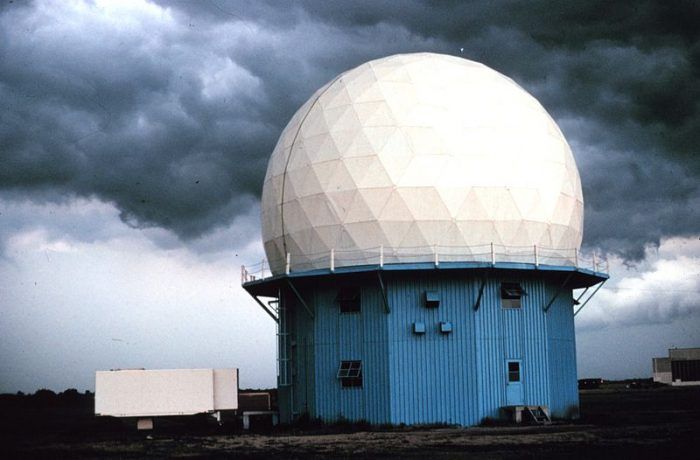 14. NSSL's first Doppler Weather Radar located in Norman, 1973. 1970s research using this radar led to NWS NEXRAD WSR-88D radar network.