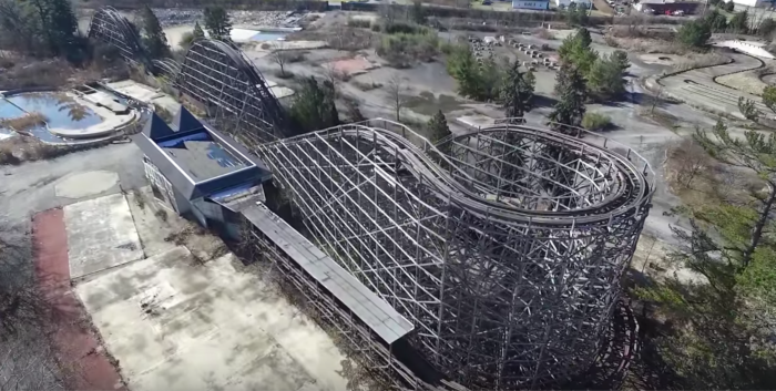 Now, all that remains of that ride is a brittle-looking wooden skeleton.