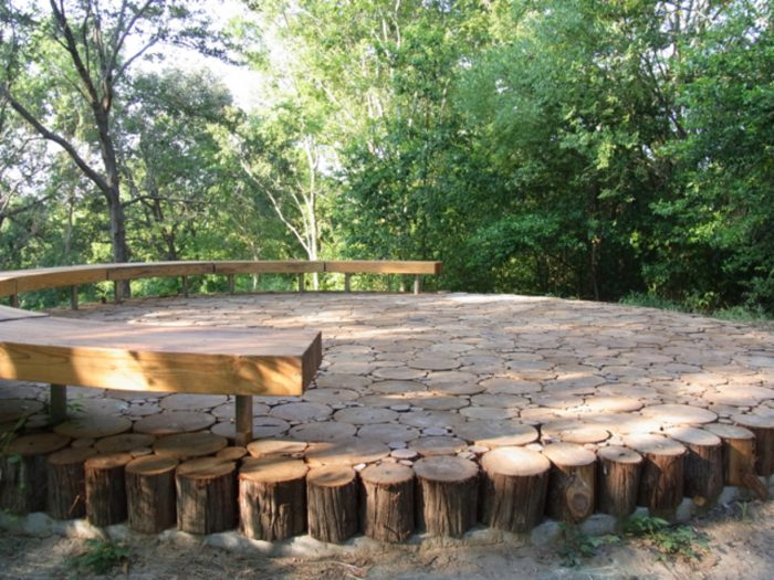 There is even a 'hill' along the trails that peaks at this stump-topped area, perfect for a rest while you are walking.