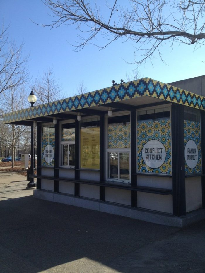 Conflict Kitchen only serves food from countries with which the United States is in conflict. One country is featured at a time. Palestine, Iran, and North Korea have all been featured countries to date.