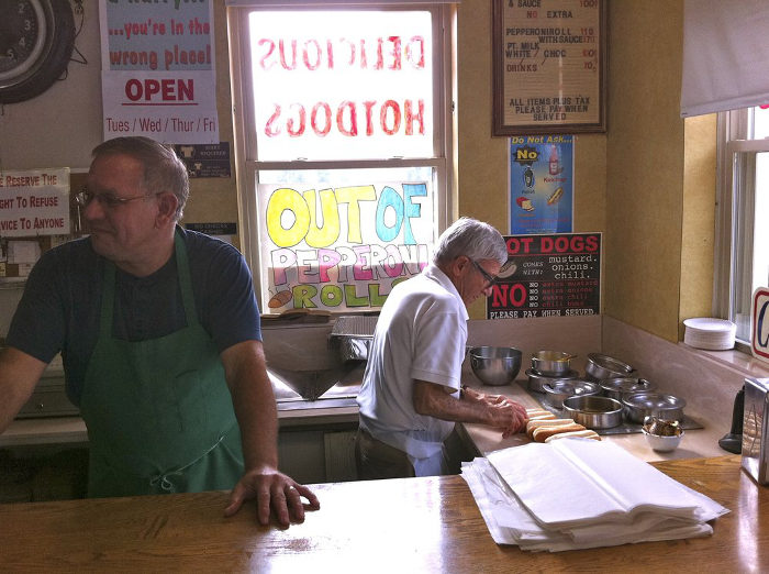 The owner, Russ Yann, is said to be quite the dictator about how his hot dogs are served.