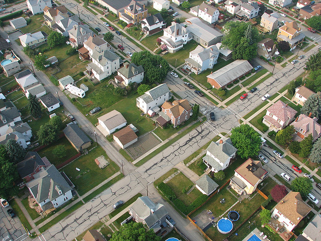 14. An aerial portrait of Greensburg, one of Pittsburgh's many eclectic suburbs.