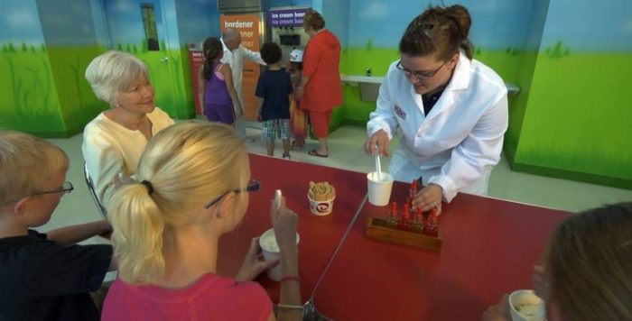 Sit in on an ice cream making class as you wait for your ice cream to harden.