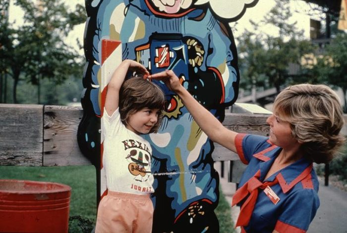 9. Height check at Cedar Point Amusement Park: circa early 1980s