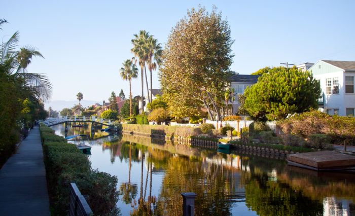 """This historic district was developed in the early 1900s. It was designed by developer Abbott Kinney as part of his """"Venice of America"""" project that was intended to capture the look and feel of Venice, Italy."""