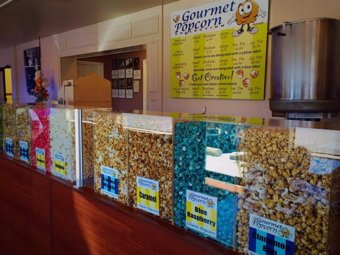 You will also find a popcorn station that has 15 different flavors of gourmet popcorn!