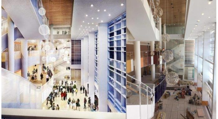 These three split photos show the renderings compared to the current construction.