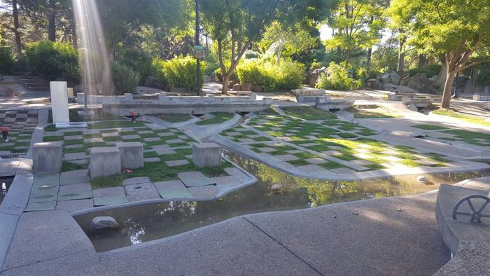 The Seven Canyons Fountain offers a unique place for kids to play and cool off.