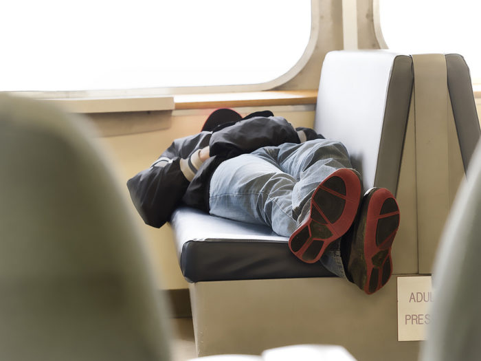 7. It is illegal to lie down and fall asleep with your shoes on.