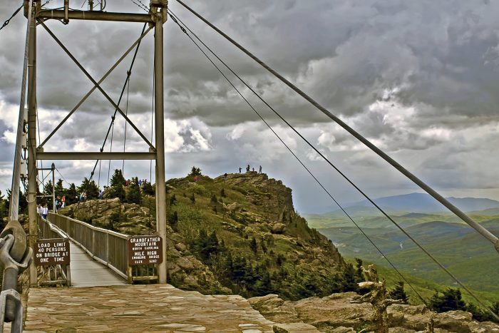 6. Walk through the clouds and across the Mile High Swinging Bridge atop Grandfather Mountain.