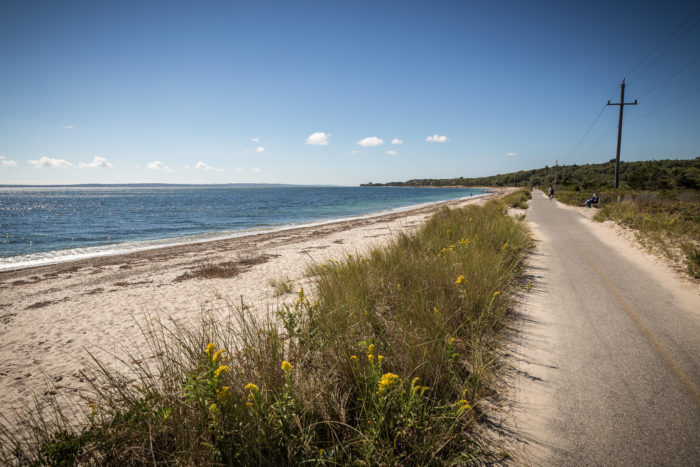 The path extends from County Route 151 in Falmouth all the way to the Woods Hole Steamship Authority.