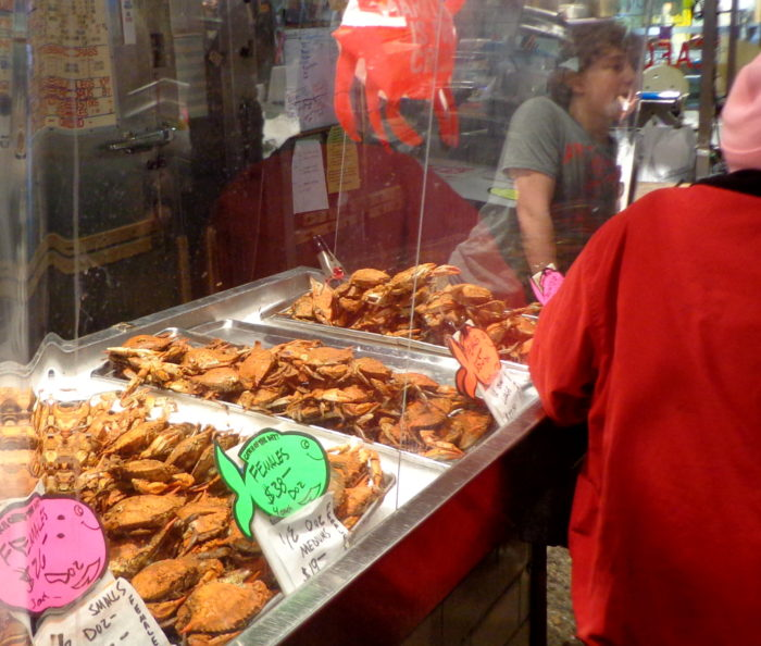 Faidley's also offers steamed and soft-shell crabs...