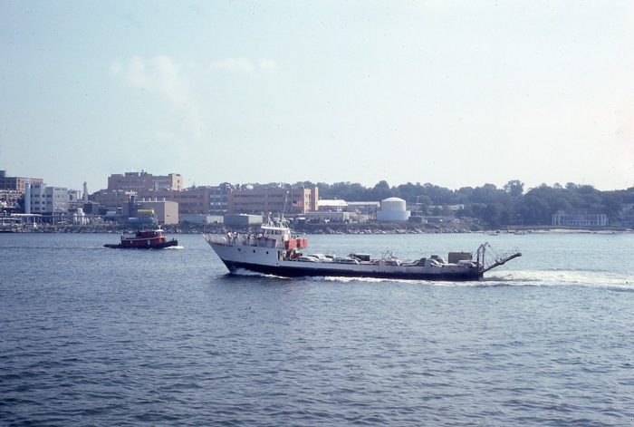 11. A ferry passes by in 1978 New London.