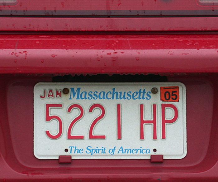 12. Same goes for a Massachusetts license plate.