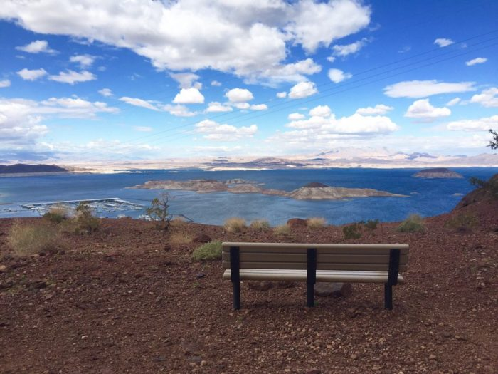 There are plenty of spots to rest and enjoy panoramic views of Lake Mead.
