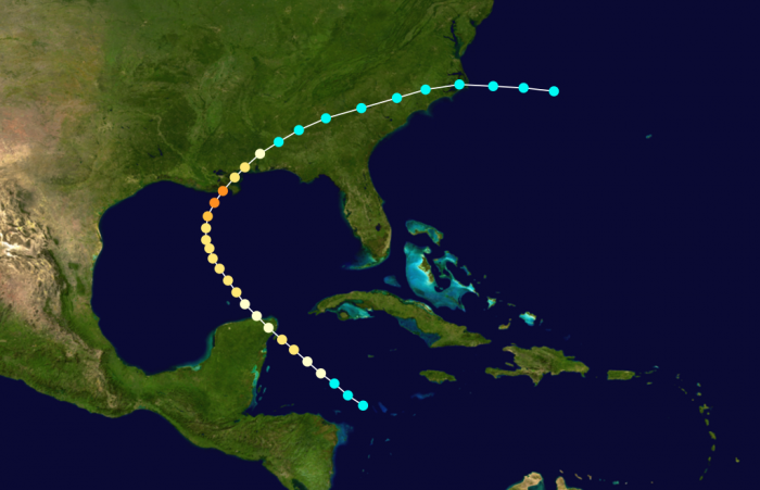 The path of the storm can be seen below, and included a hard hit to Grand Isle.