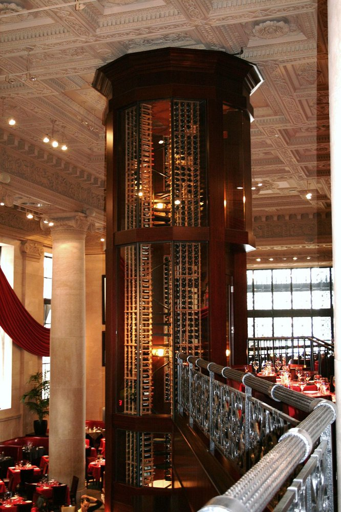 Order a glass of wine from the 40 foot wine tower that houses more than 1,000 different types of wine. The two-story tower can fit a stunning 2,484 bottles, making choosing which wine to pair with your steak or seafood dinner challenging.
