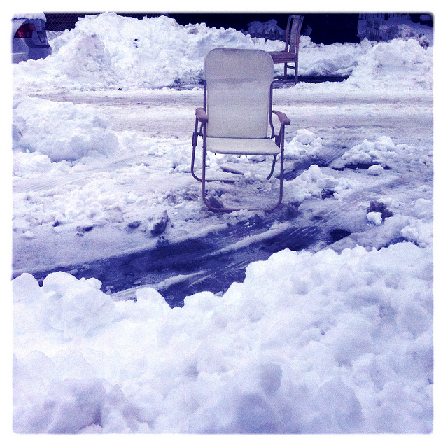 2. Used a chair to save a parking spot, especially during the winter.