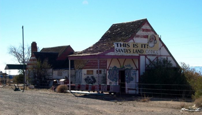 9. If you're driving between Kingman and Las Vegas, you might want to stop at this odd Christmas-themed ghost town.