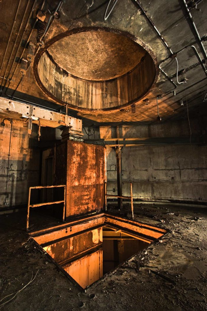 This equipment terminal inside an abandoned Titan 1 silo is slowly rusting away.