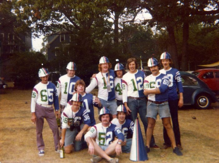 7. The 1974 crew from Costello's Bar was ready for the football season to start. Check out the mustaches and VW bugs!